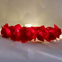LED Bloemenkroon glow roos rood