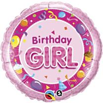Folieballon Birthday Girl pink