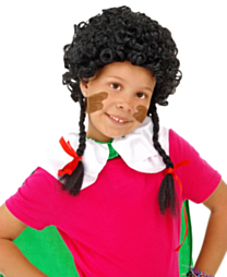 Pruik Zwarte Piet met Vlechtjes