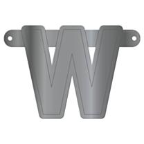 Banner Letter W Metallic Silver