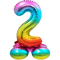 Folieballon met standaard cijfer 2