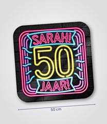 Neon huldeschild 50 jaar Sarah