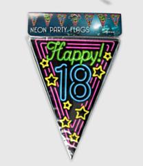Neon vlaggenlijn - 18 jaar