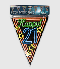 Neon vlaggenlijn - 21 jaar