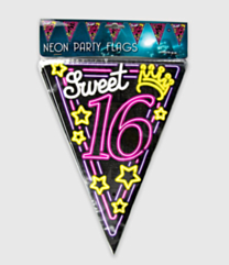 Neon vlaggenlijn - Sweet 16
