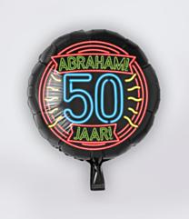 Neon Folieballon 50 jaar Abraham