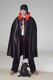 Dracula cape zwart/rood 164
