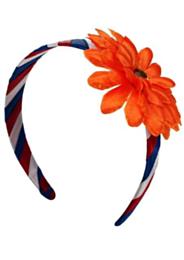 Haarband rd/wt/bl met oranje bloem