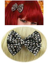 Haarklem strikje bling bling + steentjes zwart/zilver