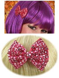 Haarklem strikje bling bling + steentjes pink
