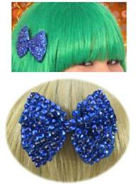Haarklem strikje bling bling + steentjes blauw