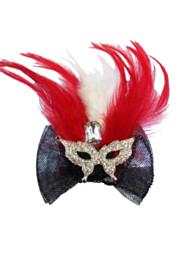 Haarclip met oogmasker en veren rood/wit