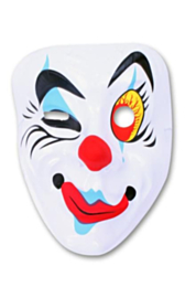 Masker plastic pierrot knipoog