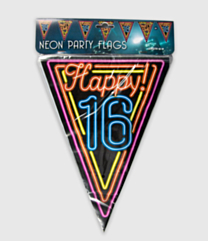 Neon vlaggenlijn - 16 jaar