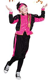 Zwarte pieten pak zwart/roze kids