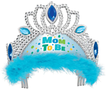 "Tiara ""mom te be"" blauw"