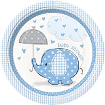 Borden Babyshower umbrellaphants blauw