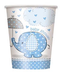 Bekers Babyshower umbrellaphants blauw