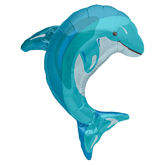 Folieballon Super Shape Blue Dolphin