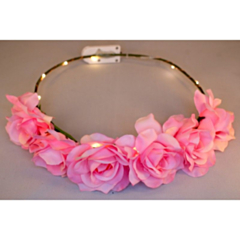 LED Bloemenkroon glow roos roze