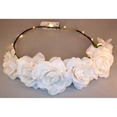 LED Bloemenkroon glow roos wit
