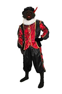 Zwarte pieten pak zwart/rood