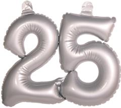 Opblaascijfer 25 Zilver