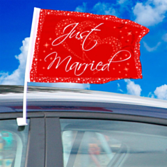 Autovlag Just Married Red/ White