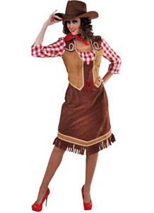 Cowgirl met geruite blouse