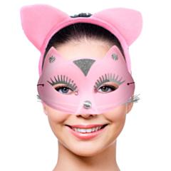 Tiara set Roze Kat met masker