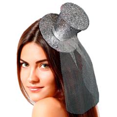 Tiara hoedje Zilver glitter