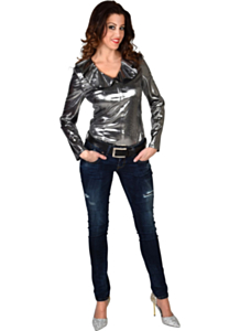 Folie blouse zilver