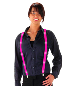 LED Suspenders Neon Pink