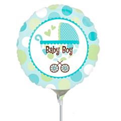Mini Folieballon Baby Boy Buggy