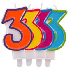 Nummer Kaars Frisse kleuren 3