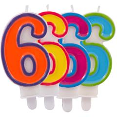 Nummer Kaars Frisse kleuren 6
