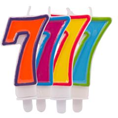 Nummer Kaars Frisse kleuren 7