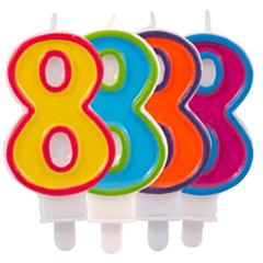 Nummer Kaars Frisse kleuren 8