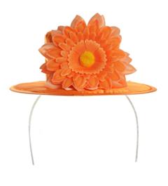 Hoedje Oranje Luxe m bloem deco