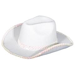 Cowboy Hoed Wit met paillet deco