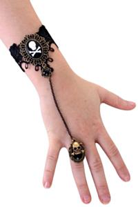 Armband kant met skelet op ring