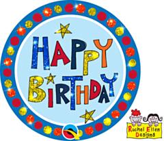 Folieballon Happy Birthday Multicolour Button