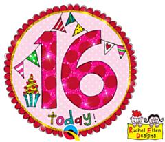 Folieballon Age 16 Perfect Pink Button