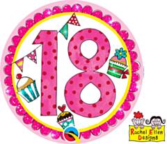 Folieballon Age 18 Perfect Pink Button
