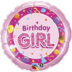 Folieballon Birthday Girl pink