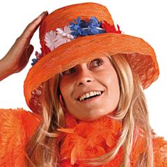 Organza Oranje hoed met RWB krans
