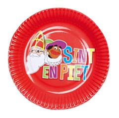 Set 6 Bordjes 'Sint en Piet' (18 cm)