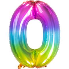 Folieballon Yummy Gummy Rainbow cijfer 0