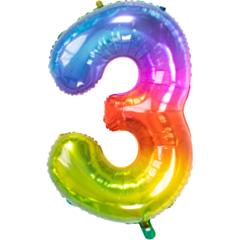 Folieballon Yummy Gummy Rainbow Cijfer 3