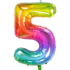 Folieballon Yummy Gummy Rainbow Cijfer 5
